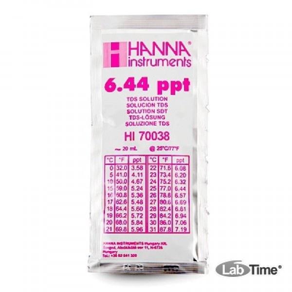 HI 70038C Раствор калибровочный 6.44 г/л, упак. 25 шт. по 20 мл с сертификатом