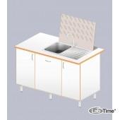 Стол-мойка ЛАБ-1400 МО (1 чаша, нерж.+стеллаж сушильный)
