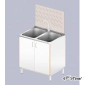 Стол-мойка ЛАБ-800 МД (2 чаши, нерж.+стеллаж сушильный)