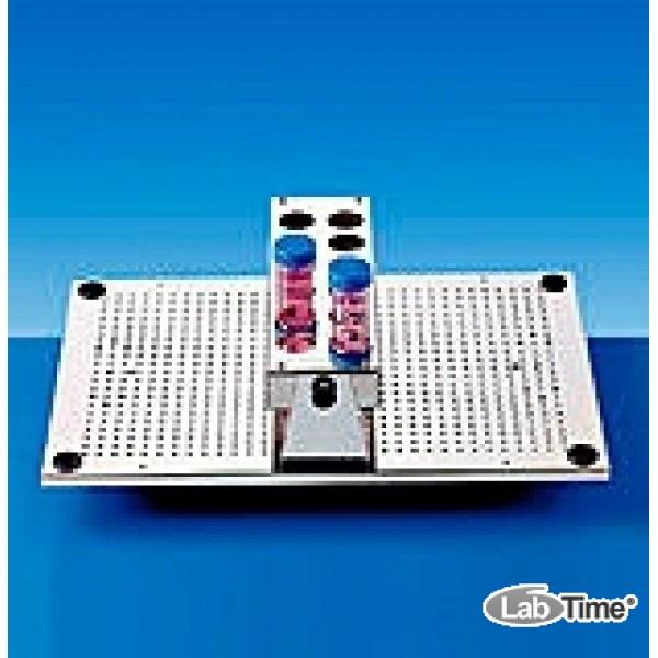 Штатив для 12 пробирок диам. 25-29 мм, с креплением на платформу, нерж.сталь